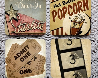 Drive-in Movies -- Vintage Image Mousepad Coaster Set