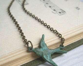 Verdi Gris Sparrow charm necklace - brass bird on fine golden brass chain - blue green patina