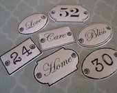 7 Door Signs ~ Mini Plaques ~ vintage french antique looking - Prima Marketing Shabby Chic Treasures