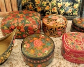 VINTAGE Paper Mache Trinket Boxes and Tray Set