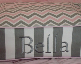 Dog Bed - Pink Chevron and More - Includes Embroidered Personalization