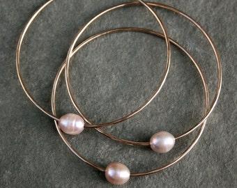 Stacking Bracelets, Pale Pink Pearls, 14k gold fill Bangles, Set of 3, Baroque Freshwater Pearls,14 karat gold filled