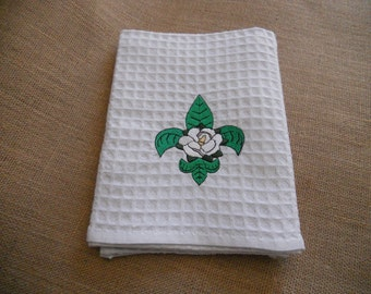 Magnolia Fleur de Lis Embroidered Waffle Weave Kitchen Towel Southern
