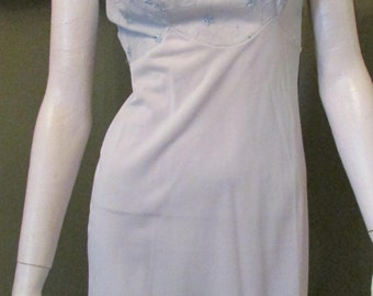 Vintage Light Blue Slip with Embroidery Flowers by Gotham Gold Stripe