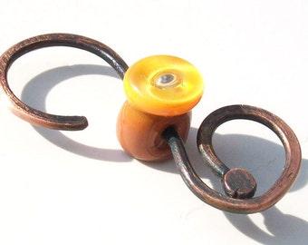 Bright Earth Bubble Button- Handmade lampwork glass bead and copper- small  s clasp closure in rust and apricot