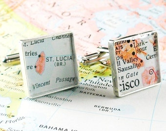 Vintage Map Sterling Silver Square Cufflinks. You Select the Journey.