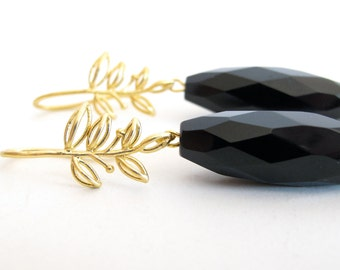 dangle earrings - black and gold - february - birthstone - onyx - matte finished - 16k gold - party earrings - engagement jewelry -handmade