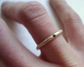 Reserved listing for Carebraun-Rough band ring in solid 14k yellow gold with 3 green sapphires