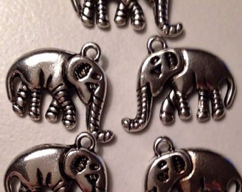charms  Elephant Pendant jewelry supplies  quantity 5  detailed  (C9) African animal zoo