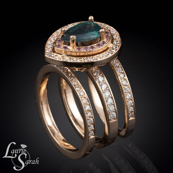 alexandrite engagement ring pear cut color by