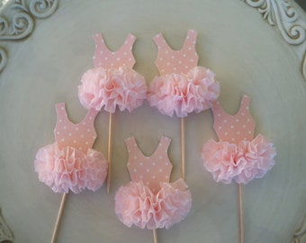 Birthday Decoration Ballerina Tutu Cupcake Toppers Set of 6 for Ballet Party Happy Birthday