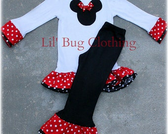 Custom Boutique Clothing Red White Polka Dot Minnie Mouse Pant and Tee Winter Girl