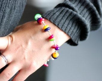 Shell Bracelet, Colorful Bracelet, Rainbow Jewelry, Sterling Silver Bracelet, Yellow, Pink, Blue, Green, Statement Jewelry - Colorfall