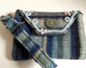 Muted Striped Wristlet