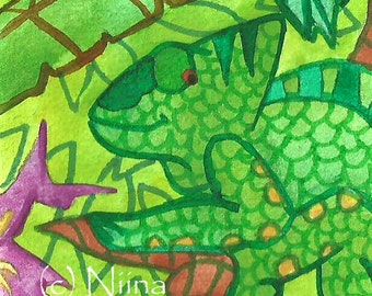 Smiling Chameleon ACEO Animal Art Green Lizard Watercolor Illustration Animal ACEO Painting Jungle Green Art For Kids Lizard Drawing