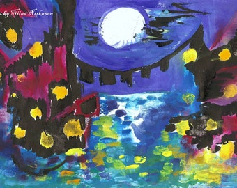Venez at Night ACEO Art Print  Nigtscape City landscape Moonlight city ACEO Print Colorful Art Colorful City by Niina Niskanen