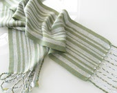 HandWoven Scarf, Silver Birch Trees in Summer, Gold and Teal Blue Tencel Hand Woven Scarf