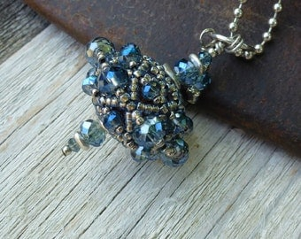 Iced Blue Beaded Bead Necklace