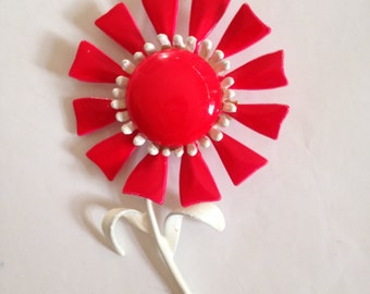 Vintage Metal FLower Pin LARGE Enamel Red and White Mod 60s