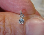 nose stud...sterling silver..mini clear swarovski crystal dangle drop NOSE STUD...