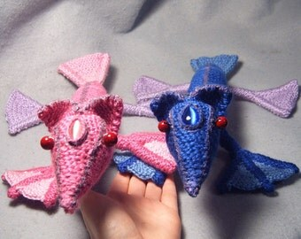 Vel and Rox - OOAK crocheted soft sculpture dragons