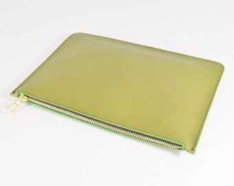 Coralie - Handmade Green Leather Clutch Bag Zip Pouch Purse