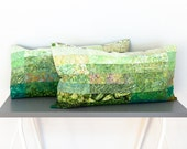 quilted pillow shams in Meadow Green - King size - Made to order