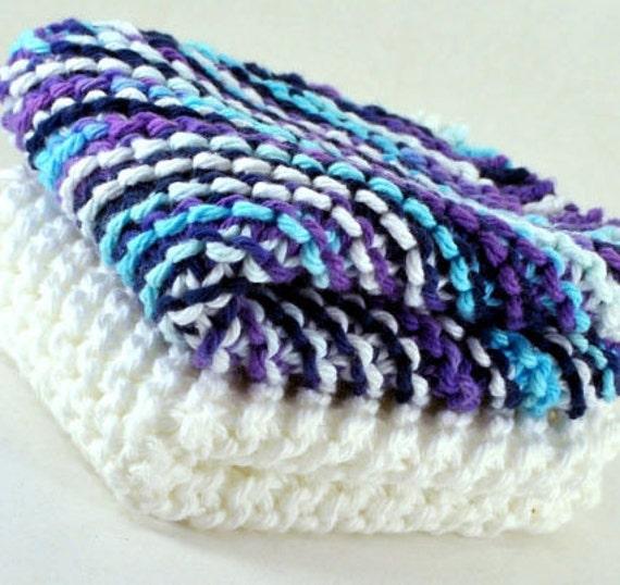20% OFF Handmade Dish Cloths - Midnight Romance - 100 Percent Cotton - Hand Knit Wash Cloths and Dish Cloths - Purple Blue White