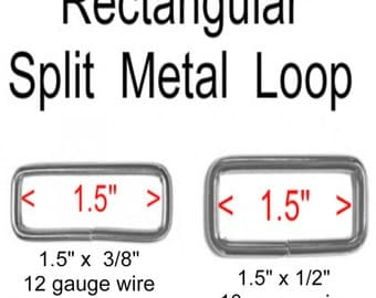 "100 PIECES - 1 1/2"" - Split Rectangular Metal Loop Rings, 1 1/2 inch, NICKEL or BRASS Plate Finish - 10 or 12 gauge wire"