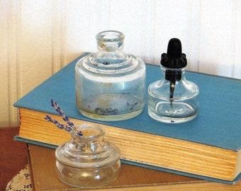 Ink Well Bottles Glass Vintage Collectible Bottles  Higgins
