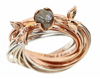 Raw Diamond Engagement Nest Ring 2+ Ct Sterling Silver and 14k Gold Mix