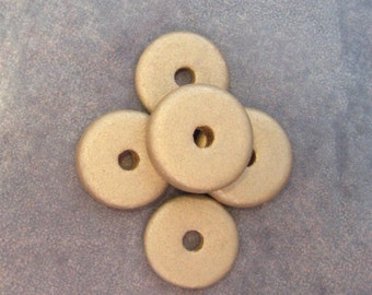 25 Gold Earthy  Greek Ceramic Beads 13mm Round Washers