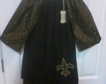 Girl's Saints black and gold fleur de lis dress, size 5T