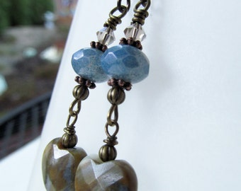 Blue Stone Heart and Czech Glass Beaded Niobium Earrings