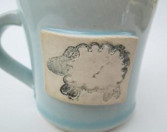 Small Sheep Ceramic Mug, Light Blue