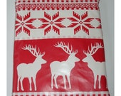 Christmas Sweater Print Holiday Nordic Reindeer Mini iPad Mini Case Cover Pouch Sleeve PVC Oilcloth Fabric Red Festive Accessories Antlers