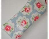 Glasses Case Zipped Padded Pouch Cozy Sleeve Cath Kidston Provence Rose Blue PVC Oilcloth Fabric Zippered Eyeglass Spectacles Specs Zipper