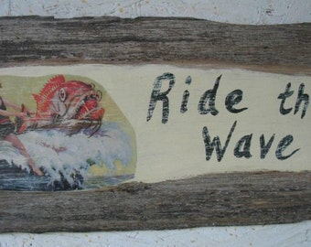 Beach sign, coastal decor, vintage sign, rustic sign, recycled wood, vintage art, wood art, driftwood sign