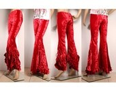 Gypsy Dancer Wide Leg Pants. Red Crushed Velvet Mermaid Shape Legs, Flare Long Ruffles Drawstring Belly Dance All Sizes and Colors