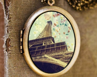 Paris Is Flying - French Eiffel Tower with Magical Balloons Grande Photo Locket Necklace