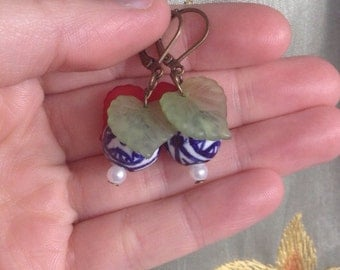 Tranqil Forest Earrings -- Blue & White Porcelain and Red and Green Lucite Leaf Earrings