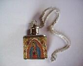 Virgin of Guadalupe flask necklace retro vintage Mexico religious kitsch Anima Sola