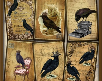 RAVeN/CRoW ALTeReD ArT HaNG TaGS/ CARDS -BEWiTCHiNG Vintage Primitive Graphics -INSTaNT DOWNLoAD- Printable Collage Sheet JPG Digital File