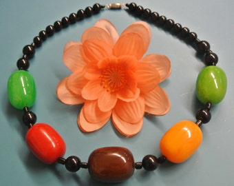 Unique one-of-a-kind tested vintage 1940s bakelite bead necklace with black and 5 large multicolor beads