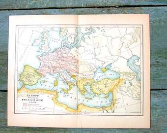 Small Historical Map - Europe at the Time of Charlemagne AD 814 - 1934 Map - From World History Book and Atlas - 9 x 7