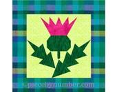 Thistle flower quilt block pattern, paper pieced quilt patterns PDF, Scottish flower quilt patterns, foundation piecing,