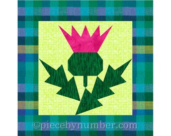 Thistle flower quilt block pattern, paper pieced quilt patterns PDF, Scottish flower quilt patterns, foundation piecing,