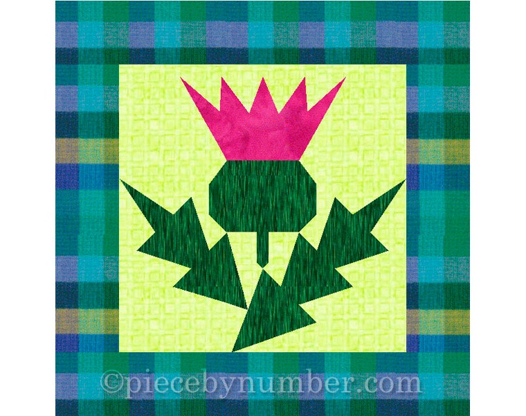 thistle flower quilt block pattern  paper pieced quilt