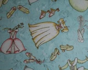 Adorable Princess Dresses and Shoes in Blue cotton fabric 68027 South Seas Castles & Carriages FAT QUARTER FQ