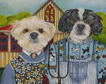 """American Gothic Style Dog Commissioned Portrait Painting 8"""" x 8"""""""